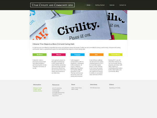 Utah Civility and Community Website - Designed by James Hooper