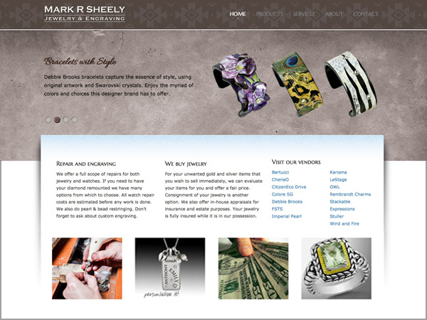 Mark R Sheely Jewelry Website - Designed by James Hooper